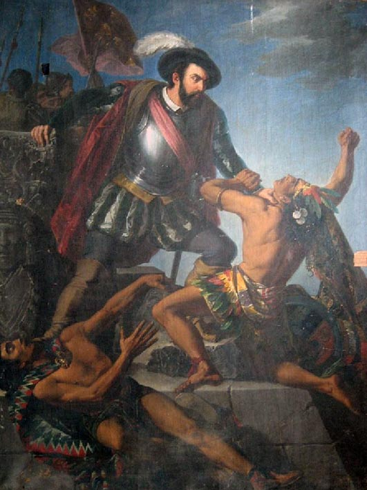 Hernan Cortés killing indigenous people of the Americas
