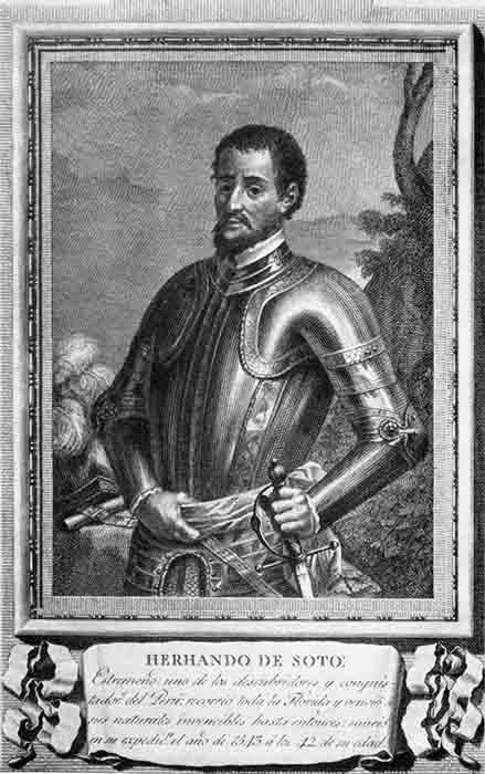A portrait of Hernando de Soto who travelled across Florida and Alabama. (Grabado de Juan Brunetti por dibujo de José Maea / Public domain)