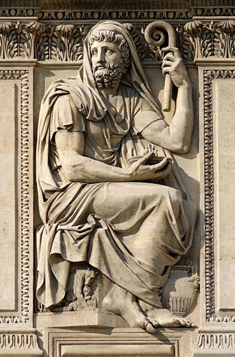 'Herodotus' by Jean-Guillaume Moitte, 1806. Relief on the right of the left window, right part of the west façade of the Cour Carrée in the Louvre Palace, Paris. (Jastrow/CC BY 3.0)