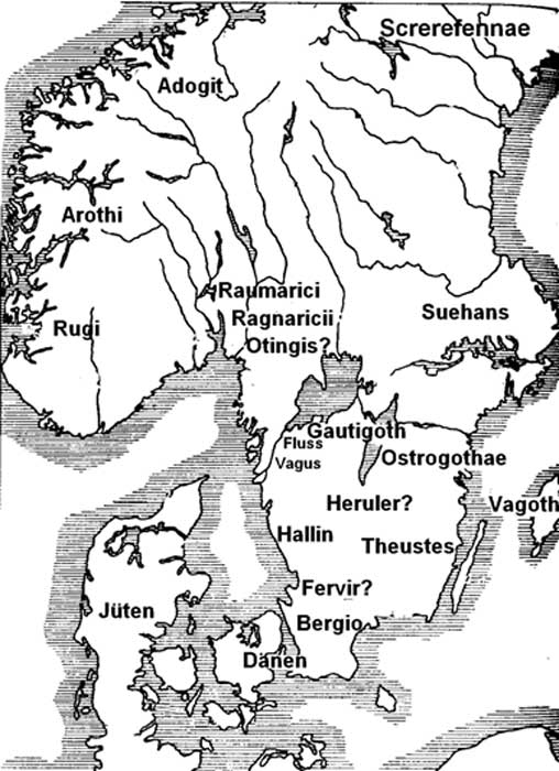 In this map the possible Herulian homeland is in Southern Sweden.