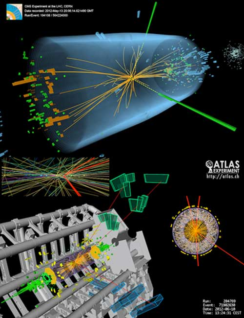 Higgs boson events from collisions between protons in the LHC. The top event in the CMS experiment shows a decay into two photons - dashed yellow lines and green towers. The lower event in the ATLAS experiment shows a decay into four muons - red tracks. (Cteirmn / CC BY-SA 3.0)