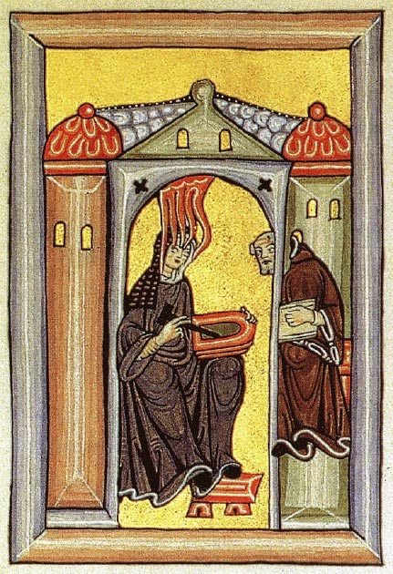 Hildegard receiving visions, a reproduction of an image from the 'Scivias' medieval manuscript. (Eisenacher~commonswiki / Public Domain)