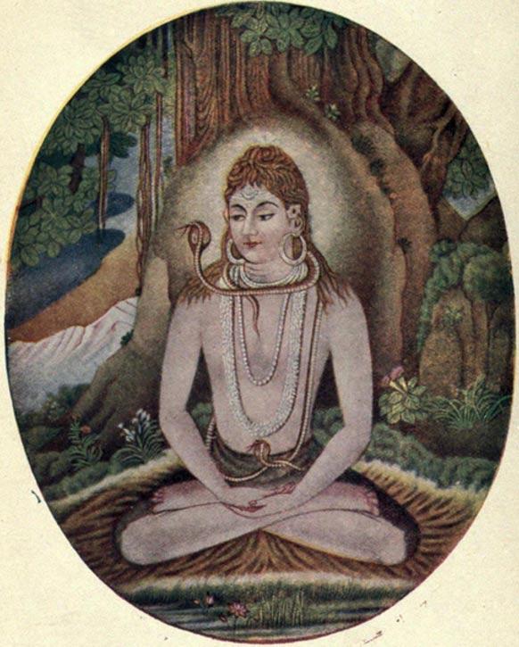 The Hindu God Shiva in a yoga pose