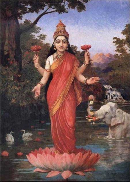 Hindu Goddess Laksmi with unnaturally red lips.