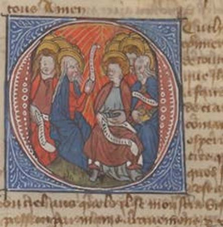 Historiated initial depicting Pentecost, when linguistic miracles were supposedly most prevalent. gallica.bnf.fr / BnF