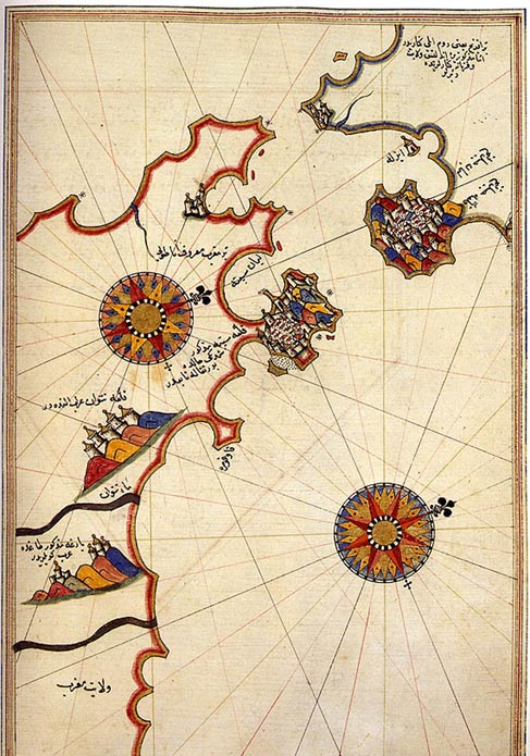 Historic map of the Strait of Gibraltar by Piri Reis.