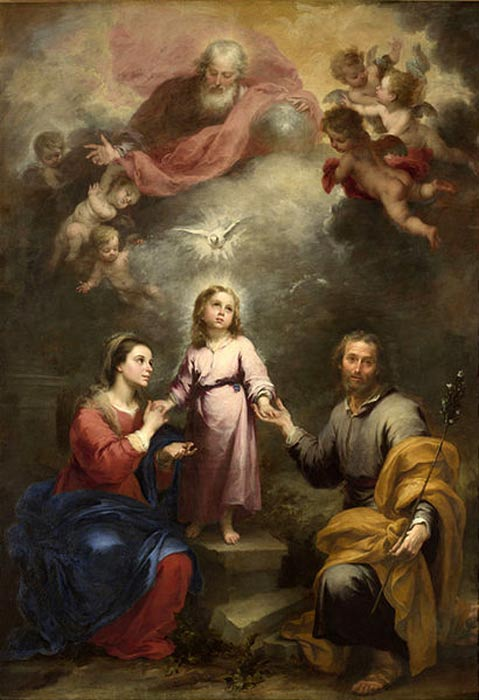The Holy Spirit depicted as a dove descending on the Holy Family, with God the Father and angels shown atop, by Murillo, (c. 1677).
