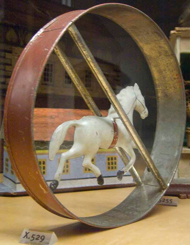 "A hoop toy with a horse in the center from 1870 AD, which could be rolled around the house (if big enough) or along the sidewalk or through the park. (Wikipedia Loves Art participant ""The_Grotto"" / CC BY-SA 2.5)"