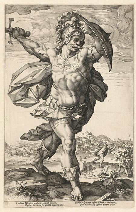 Horatius Cocles, a 1586 engraving by Hendrick Goltzius.