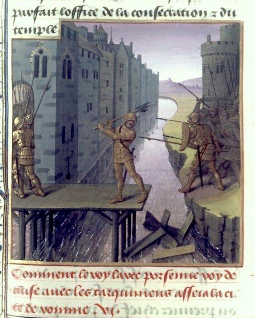 15th-century miniature of Horatius defending Rome, holding the bridge alone.