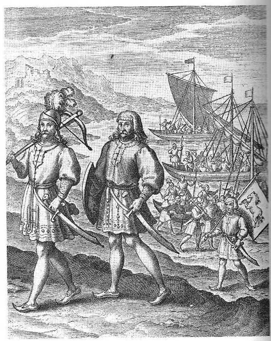 Illustration of Horsa and Hengest, said to be the descendants of Woden/Odin.