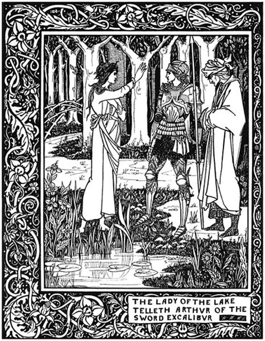 """How Arthur by the means of Merlin got Excalibur, his sword of the Lady of the Lake"", illustration for Le Morte Darthur. (Lagad Zoltec / Public Domain)"