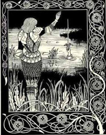 How Sir Bedivere Cast the Sword Excalibur into the Water. Aubrey Beardsley Illustration from: Sir Thomas Malory, Le Morte d'Arthur. London: Dent, 1894