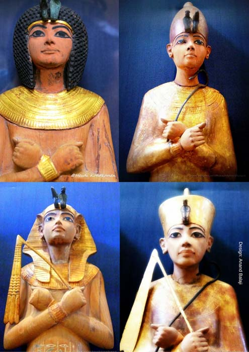 Howard Carter was highly impressed with the selection of large-sized shabtis in Tutankhamun's sepulcher. Specimens wearing different headgear are shown here; and those with the tripartite wig (top left) were the most common. However, a few shabtis do not seem to have been destined for the boy-king. Egyptian Museum, Cairo. (Photos: Susan Ryan and Heidi Kontkanen)