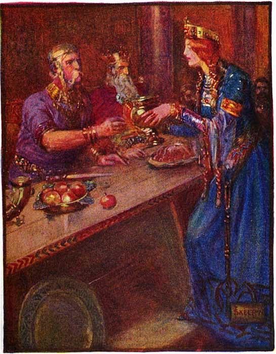 Hroðgar receives wine from the Queen.
