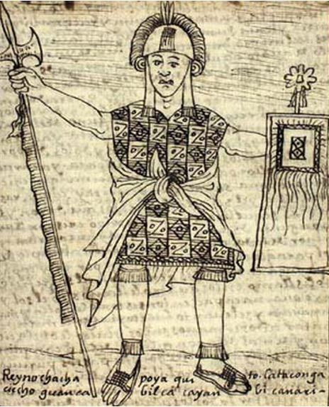 "Huayna Capac, drawn by Felipe Guaman Poma de Ayala. The title, in Poma de Ayala's nonstandard spelling, reads: El onceno inga Guainacapac, ""The Eleventh Inca, Huayna Capac""."