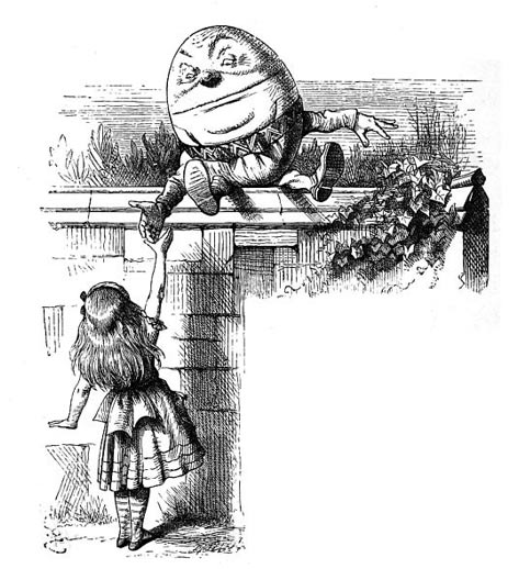 Humpty Dumpty and Alice from Through the Looking Glass, J. Tenniel (Wikimedia Commons)