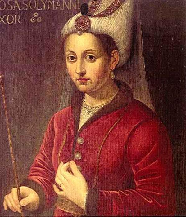 16th-century Latin oil painting of Hürrem Sultan, entitled Rosa Solymanni Vxor.