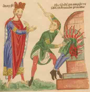 The Antichrist, left, shown with attributes of a king, many of whom were viewed as greedy and evil through the ages. (Public domain)