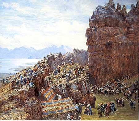 This painting depicts an early meeting of Iceland's Althing with the Lögsögumaður