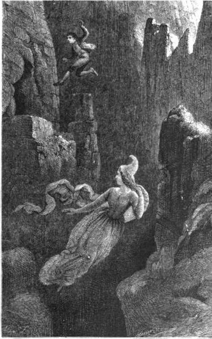 Engraving of a man jumping after a female elf into a precipice. An illustration to the Icelandic legend of Hildur, the Queen of the Elves.