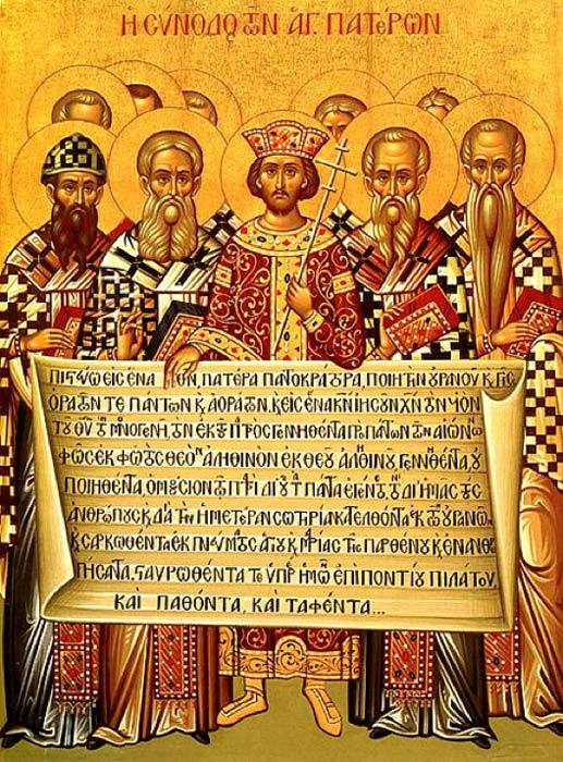 Icon depicting the Emperor Constantine, accompanied by the bishops of the First Council of Nicaea (325), holding the Niceno–Constantinopolitan Creed of 381. (Public Domain)
