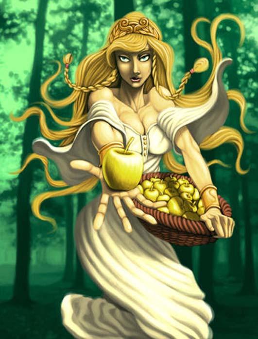 Idunn with apples. (CC BY SA)