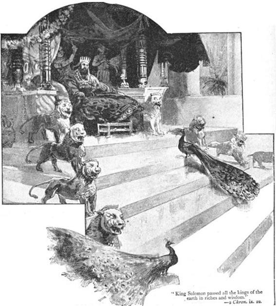 Ilustración que representa a rey Solomon en su trono extravagante.