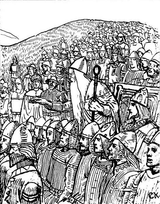 Illustration by C. Krogh depicting Þorgnýr the Lawspeaker showing the power of his office to the king of Sweden at Gamla Uppsala, 1018.