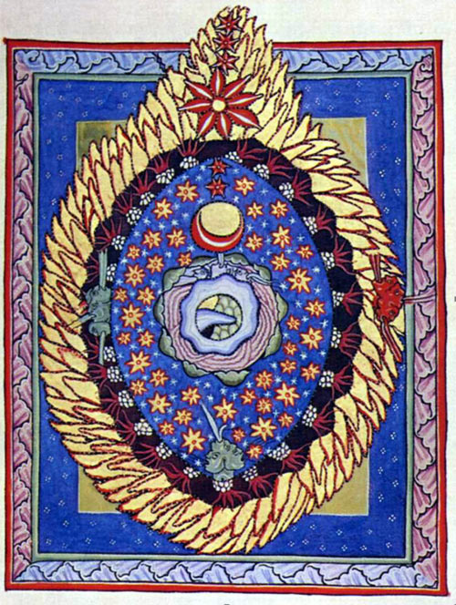 Illustration depicting the fiery cosmic egg