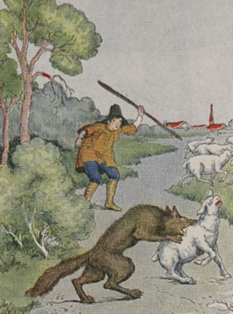 Illustration of Aesop's fable, 'The Boy Who Cried Wolf'. (Tagishsimon / Public Domain)