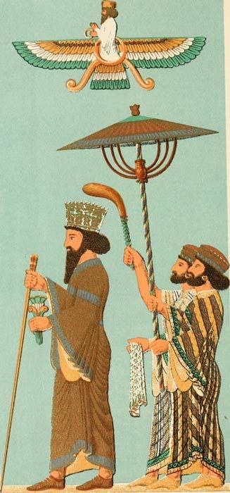 Illustration of Darius with his Parasol Bearers. 1904.