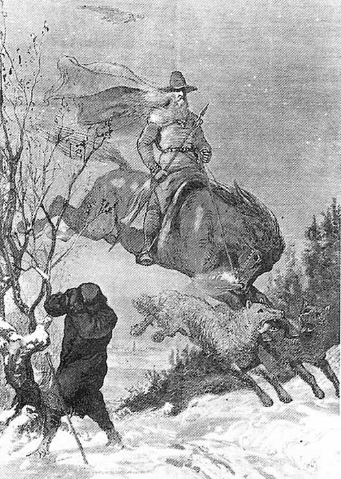 Illustration of Odin's hunt by August Malmström.