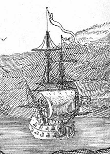 Illustration of Queen Anne's Revenge published in 1736