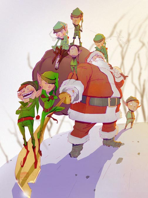 Illustration of Santa Claus and Elves