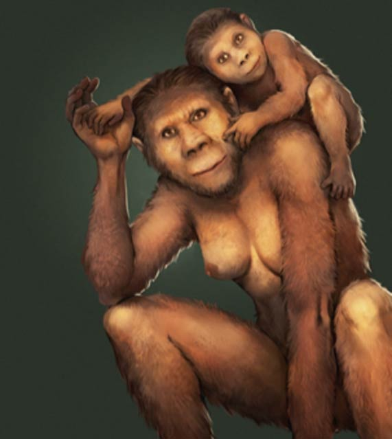 Illustration of a mother Australopithecus africanus and her young offspring. (Jose Garcia and Renaud Joannes-Boyau, Fair Use)