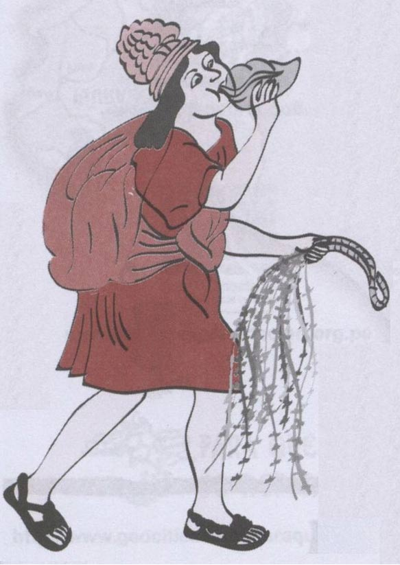 Illustration of chasqui – highly skilled distance runners - playing a pututu (conch shell). Chasqui were one of many ancient Incans who depended upon rope bridges.