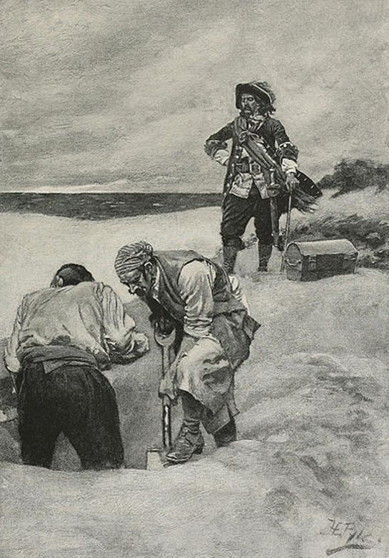 Illustration of pirate captain William Kidd's supervision of the burial of his treasure at Gardiner's Island