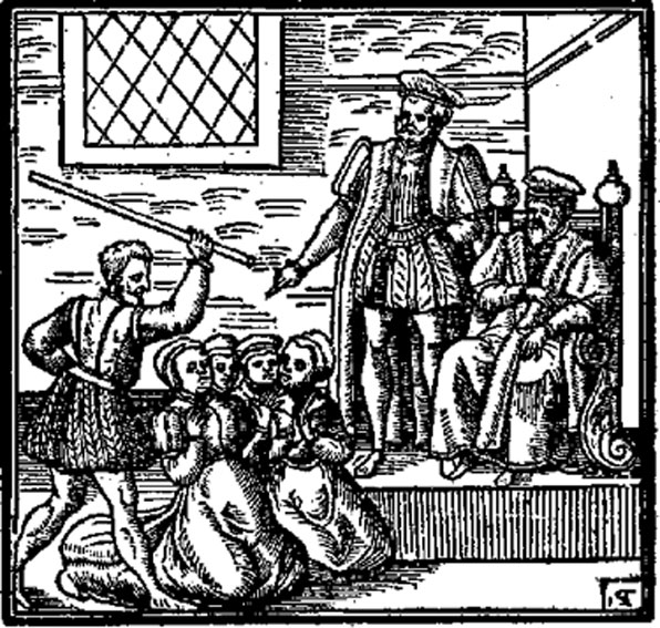 Illustration of witches, perhaps being tortured before James VI and I, from his 'Daemonologie' (1597). (Public Domain)