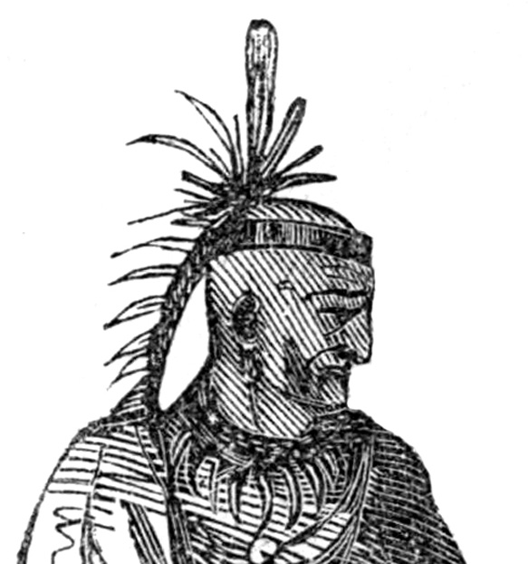 Illustration; one of the earliest depictions of Chief Cornstalk. From Frost's pictorial history of Indian wars and captivities from the earliest record of American history to the present time. 1872.