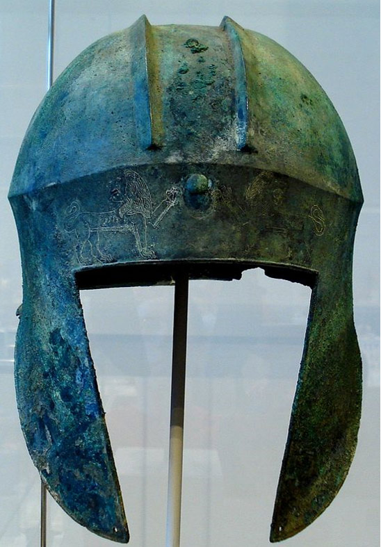 """Illyrian"" type helmet. Bronze. Greek, 6th-5th century BC. From Argolis-Greece. Photo by David Liam Moran, 2007."