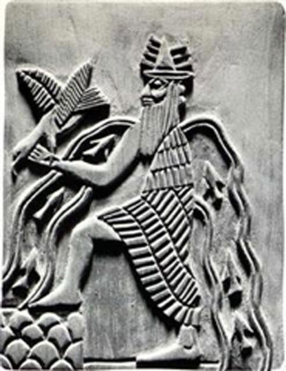Image of the Sumerian god Enki. Modern reproduction of a detail of the Adda seal (circa 2300 BC) (Public Domain)