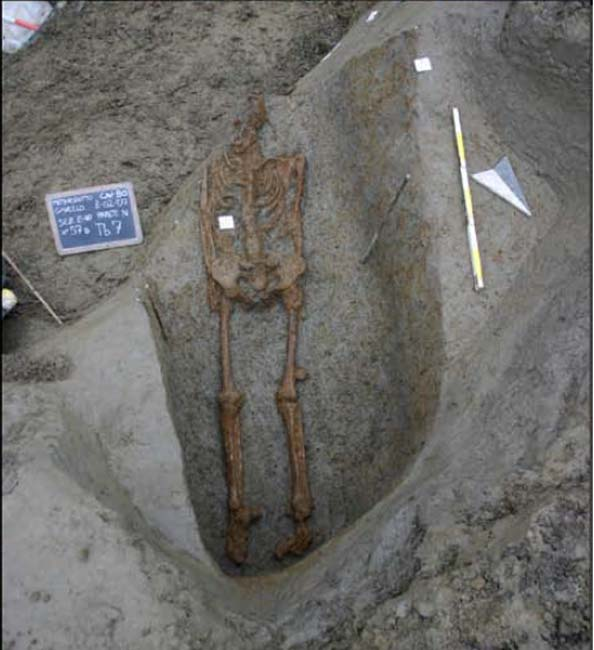 Image of the skeleton found in northern Italy, which may be the second known evidence of crucifixion. (Image: Springer-Verlag GmbH Germany, part of Springer Nature 2018, ResearchGate)
