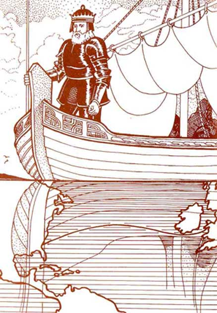 Imaginative drawing Madog ab Owain Gwynedd on his ship.