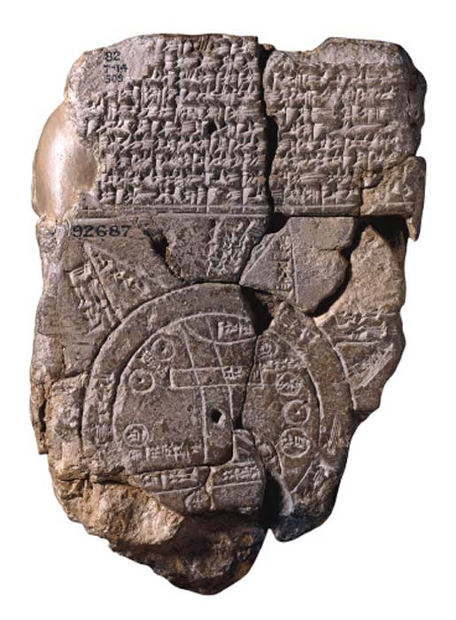 Imago Mundi Babylonian map, the oldest known world map, 6th century BC Babylonia.