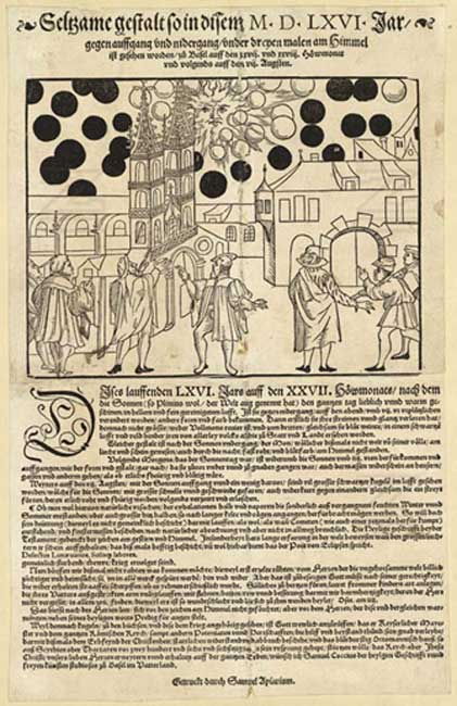 "In 1566, a similar celestial phenomenon was reported over Basel, Switzerland and The Basel Pamphlet describes ""unusual sunrises and sunsets"" and phenomena ""fighting together"" in the form of numerous red and black balls in the sky before the rising sun. (Public Domain)."