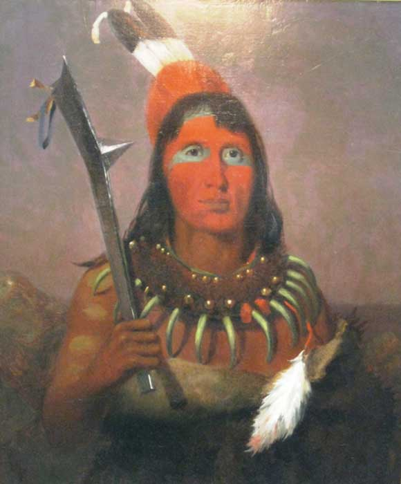 In 1840 Charles Deas painted this image of a Ho-Chunk warrior with a bear-claw necklace and a gun-stock club. (Public Domain)