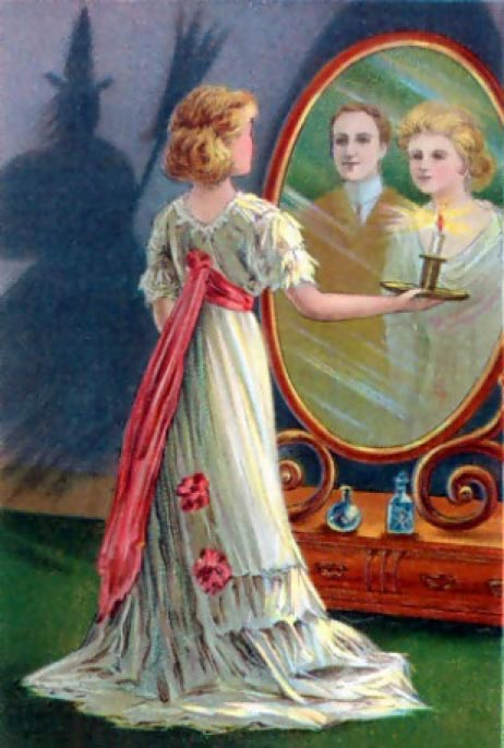 In this 1904 Halloween greeting card, divination is depicted: the young woman looking into a mirror in a darkened room hopes to catch a glimpse of her future husband. (Public Domain)