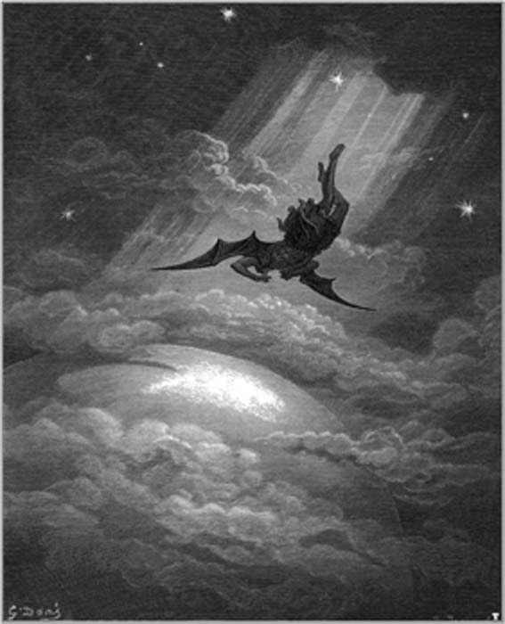 In this vintage engraving, Gustave Dore illustrates Satan flying to Earth from Milton's epic 'Paradise Lost'. (Holger Thölking / Public Domain)