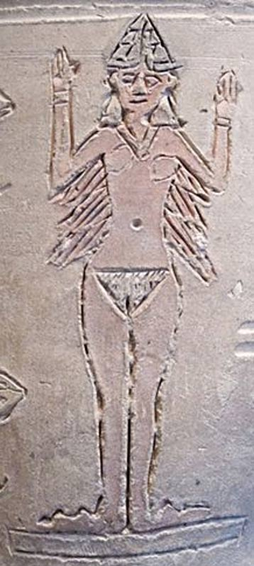 Inanna, the most prominent female deity in ancient Mesopotamia on the Ishtar Vase.